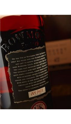 Black Bowmore Rear Label Detail Limited Edition Number Shot