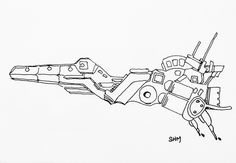 Spaceship #29 - May 29 2016 - ink on paper by Steven H MacDowall 7 inches = 17.78cm X 5 inches = 12.7cm (width x height).