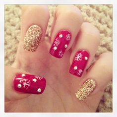 Christmas Nails Courtesy of Katie @ La Belle Nail Room  #jessicanails #GELeration #sparkly #pretty #glitter #snowflakes #diamanté #red