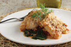 Μπακαλιάρος µε σπανάκι | Συνταγή | Argiro.gr - Argiro Barbarigou Cod Fish, Food Categories, Greek Recipes, Fish And Seafood, Make It Simple, Nom Nom, Pork, Turkey, Vegetarian