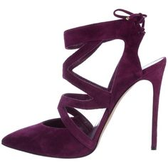 Pre-owned Casadei Suede Cage Pumps (€145) ❤ liked on Polyvore featuring shoes, pumps, purple, suede pointed-toe pumps, pointy-toe pumps, pointed toe pumps, purple suede shoes and purple pumps