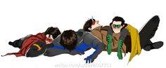 Batboys. Red Robin, Nightwing, Red Hood, & Robin.