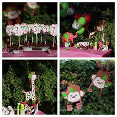 Modern Zoo Birthday Party Safari Birthday Party Animal Birthday Party Centerpieces and Cupcake Picks