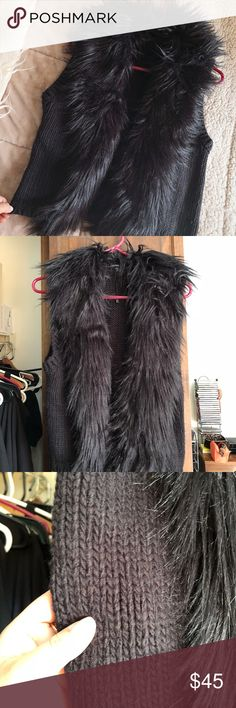 Express Faux Fur Vest Super cute faux fur knitted black vest! Never got to wear it so now it's just sitting in my closet! Perfect condition! If you'd like to see any additional photos let me know! Express Jackets & Coats Vests