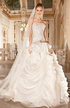 Col en cœur robe de mariée de luxe organza fleur traîne chapelle [#ROBE209809] - robedumariage.com