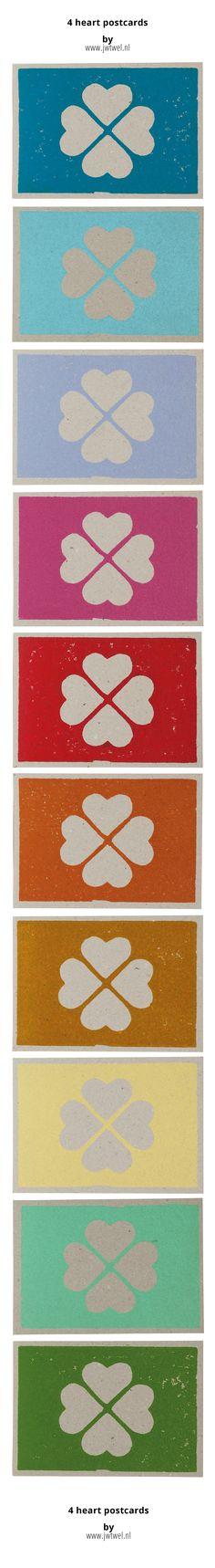 jwtwel, 4 heart linoprint postcard on grayboard paper. © jwtwel 2015 Fresh New Summer Colours #lino #postcard #4heart #love #graphic #art #lovelycard #linoleum #jwtwel #blue #lightblue #lila #pink #red #orange #darkyellow #lightyellow #mint #green #handcraft #hartje4 #summer #colorplan