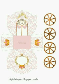 Crown in Gold and Pink: Princess Carriage Shaped Free Printable . - Crown in Gold and Pink: Princess Carriage Shaped Free Printable … - Printable Box, Free Printables, Disney Princess Party, Pink Princess, Frog Princess, Cinderella Birthday, Princess Birthday, Diy And Crafts, Crafts For Kids