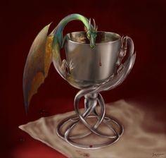 Green dragon  dragon goblet by Hagge.deviantart.com on @deviantART