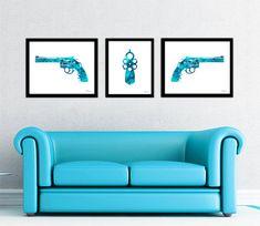 Revolver print set, revolver silhouette art, blue revolver watercolor print, revolver gun art, blue gun print, gun silhouette, western art