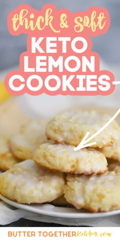 These thick and soft keto lemon cookies from Butter Together Kitchen are exactly what you need if you're looking for a delicious cookie that is bursting with lemon flavor! Drizzled with icing, these are perfectly sweet and tangy! If you're anything like me and you love citrus too, you will adore these keto lemon cookies! #keto #lowcarb #lowcarbrecipes #ketorecipes #cookies #cookierecipes #lowcarbdessert