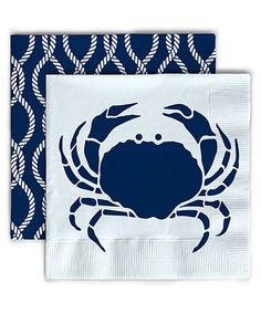 Crab Beverage Napkin - Set of 40 Summer Beach Vacation entertaining