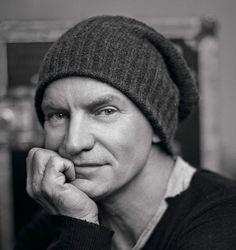 Sting 2/14, musician, singer, hand, face, portrait, photo b/w.