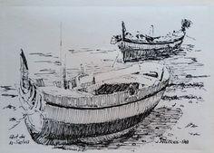 Barcas Port de la Selva, dibujo tinta-2 / Ink drawing boats. Joaquim Francés