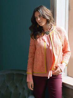 Lace Jacket with Leather Piping (Plus Size) 03/2014