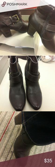 Nine West Ankle Boots Nine West brown size 11M ankle boots / brass colored buckle. GREAT CONDITION VERY NEAT LOOKING BOOTS. Gently used only worn a few times. Nine West Shoes Ankle Boots & Booties