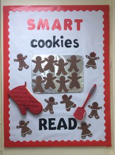 "Cute ""Smart Cookie"" bulletin board - use child's face photo November Bulletin Boards, Kindergarten Bulletin Boards, Christmas Bulletin Boards, Reading Bulletin Boards, Winter Bulletin Boards, Bulletin Board Display, Classroom Bulletin Boards, Classroom Door, Reading Boards"