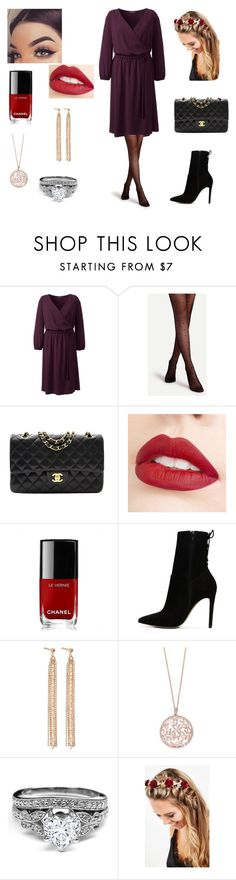 """Christmas Dinner ❄️"" by annemarie-robinson on Polyvore featuring Lands' End, Chanel, Jouer, ALDO, Charlotte Chesnais, Effy Jewelry, Johnny Loves Rosie and plus size dresses"