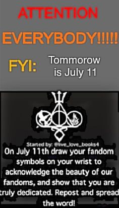 READ! IF YOU ARE IN A FANDOM!----- I know it's not tomorrow. But I think this is and amazing thing. We should all do it!!: