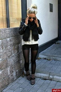 Loving the tights and shorts look for fall