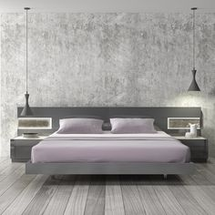 Braga Grey Lacquer Wood Contemporary Platform Bed by J&M
