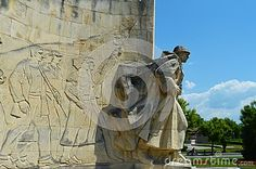 The Romanian soldier monument with view to the town in Baia Mare, the capital of Maramures County.
