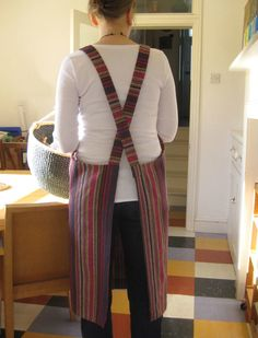 House Apron No 4. Pull-on  no ties. Woven Stripe. Womens  Medium-Large