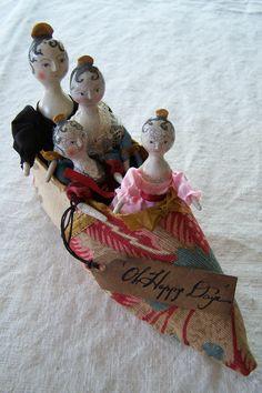 Ooak Set Four Grodnertal Tuck Comb Dolls in Handmade Antique Linen Shoe NR! | eBay