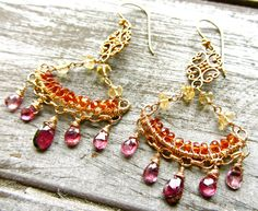 How We Love Exotic Pink Ruby Gemstone Chandelier Earrings by AstridLily on Etsy