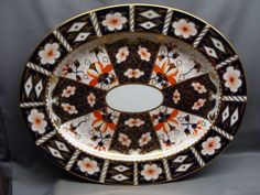 "Antique ROYAL CROWN DERBY Traditional Imari #2451 15"" Oval Platter Dated 1914"
