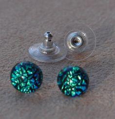Green stud earrings fused crinkle dichroic glass by admiralglass, $17.00