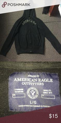 American Eagle zip up sweatshirt Black zip up sweatshirt. Size large. It's in good condition. American Eagle Outfitters Shirts Sweatshirts & Hoodies