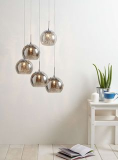 Smoke Glass and Crystal Spiral Cluster Light - BHS