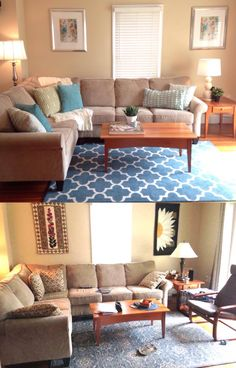 Living Room Before and After Home Staging. #homestaging #interiordesign
