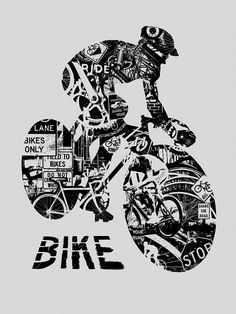 Bike Anatomy Bicycle Ride Helmet Race Critical Mass Silk Screen Art Print Poster by gigart on Etsy $30 This is a silk screen art print that shows what a biker is made of. The many details such as gears and spokes, grime and oil, street signs, bicycles and more make up this really nice print of a rider's silhouette. Size: 18 inch x 24 inch 1 color silk screen (Black only) Grey Paper Signed and numbered by Gregg Gordon of GIGART of 100 prints