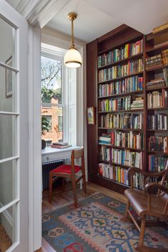 Hicks Street, Brooklyn Heights - Baxt Ingui Architects, P. Burnt Orange Living Room Decor, Formal Living Rooms, Living Spaces, Home Libraries, Dream Rooms, Cozy House, Built Ins, My Dream Home, Interior Inspiration