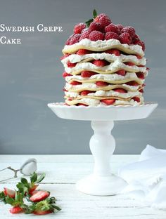 Swedish Crepe Cake Recipe - The Swedish Pancake Stack Cake Recipe Make sure you use only the thinnest of crêpes for this sumptuous dessert. A perfect summer birthday cake and a children's favorite. Cupcakes, Cupcake Cakes, Swedish Recipes, Sweet Recipes, Churros, Just Desserts, Delicious Desserts, Dessert Crepes, Pancake Cake