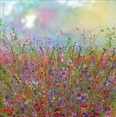 Yvonne Coomber -- Early Meadowlands - These works are full of lavish bursts of colour that sparkle with joy and happiness. Inspired by tumbling, kaleidoscopic hedgerows they at once communicate both energy and peacefulness. Glitter Kunst, Glitter Art, Watercolor Flowers, Watercolor Art, Digital Art Gallery, Contemporary Artwork, Art And Illustration, Painting Prints, Art Paintings