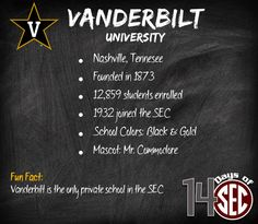 Vanderbilt University | Fun Fact: Vanderbilt is the only private school in the SEC
