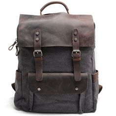 Cheap Vintage Large Laptop Thick Canvas Travel Rucksack Bag Splicing Leather Outdoor Backpacks For Big Sale!Vintage Large Laptop Thick Canvas Travel Rucksack Bag Splicing Leather Outdoor Backpacks
