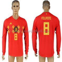 Billige Fotballdrakter Belgia VM 2018 Fellaini 8 Hjemme Draktsett Langermet
