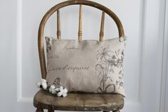 Botanique Accent Pillow - paired with a well-worn, vintage chair and placed in the kitchen - Just perfect. Sitting Bench, Accent Pillows, Throw Pillows, Vintage Chairs, Accent Pieces, Reusable Tote Bags, Pairs, Kitchen, House