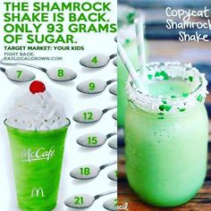 The Shamrock Shake is back! How about trying one that's only 25% of the calories?  The regular one has 820 calories and 115 g of sugar!  Ingredients:  2 scoops of Arbonne Vanilla Protein Powder 1 scoop of Arbonne Fiber  2 cups of organic baby spinach  1/2 tsp pure peppermint extract 2 tsp organic shredded unsweetened coconut (optional) 1 cup of water Large handful of ice  Combine all ingredients together in blender.
