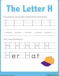 Preschool Kindergarten Letters Worksheets: Practice Tracing the Letter H