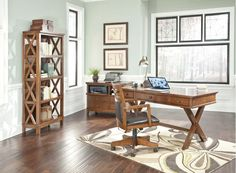 By Ashley Furniture in Longview, TX - Burkesville - Medium Brown 3 Piece Home Office Set