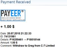 Received payments on 20/07/2015