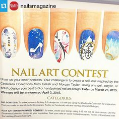 Sounds like fun and these types of contests are the best because you can do it at home at your leisure.  I encourage you all to try! I'm going to!  #Repost @nailsmagazine ・・・ Announcing @gelish_official and @mtmorgantaylor's InnerPrincess #nailart contest! Create a #Cinderella inspired design and share, tagging #ManiAtMidnight to enter. **Official rules at nailsmag.com/princesscontest and in the March issue of #nailsmag** #nails #nailcontest #nailindustry #TheNailHub