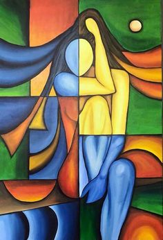 Cubist Paintings, Cubist Art, Indian Art Paintings, Abstract Art, Canvas Painting Tutorials, Acrylic Painting Canvas, Canvas Art, Pinturas Art Deco, Afrique Art