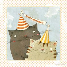 Cat's Birthday Party Illustration by Judith Loske Birthday Greetings For Facebook, Happy Birthday Text, Happy Birthday Beautiful, Cute Birthday Cards, Happy Birthday Messages, Happy Birthday Quotes, Cat Birthday, Birthday Greeting Cards, It's Your Birthday