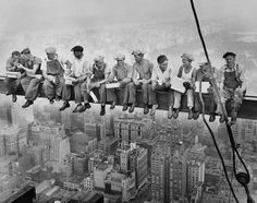 """Charles Ebbets' depiction of """"Lunch atop a Skyscraper"""" has become synonymous with the booming construction era in New York City. Ebbets climbed atop Rockefeller Center along with the construction workers to snap this iconic photo on Sept. 29, 1932."""