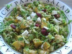 Warm Shredded Brussel Sprout and Roasted Pumpkin Salad with Pearl Barley, Feta and Cranberries